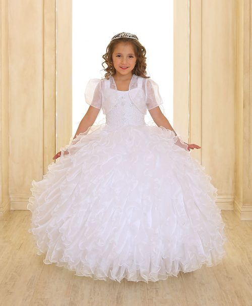 Embellished Bodice Organza Ruffled Girls Pageant Dress White