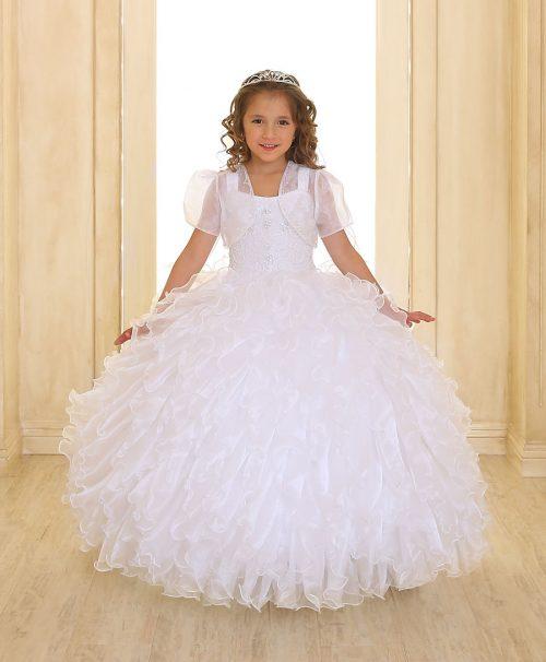 Embellished Bodice Organza Ruffled Girls Pageant Dress White