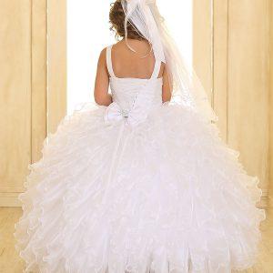 Embellished Bodice Organza Ruffled White Girls Pageant Dress