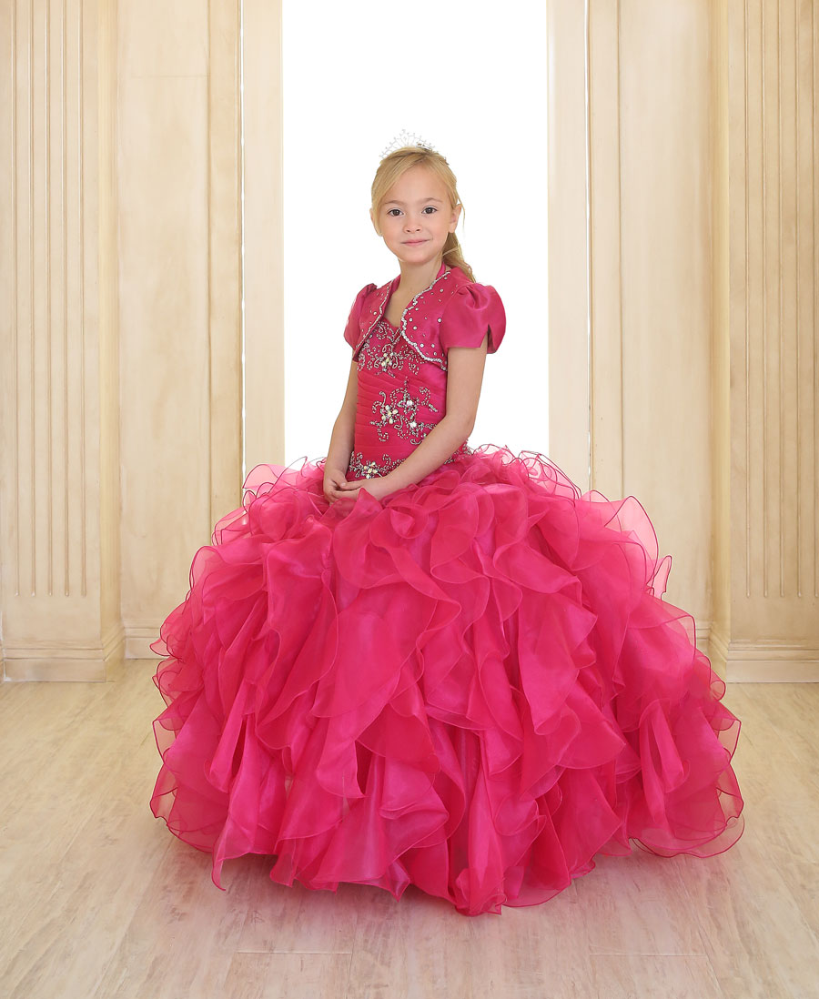 Fancy Girls Pageant Dress with Ruffled Skirt Coral