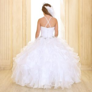 Fancy Girls Pageant Dress with Ruffled Skirt White