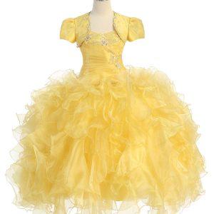 Fancy Pageant Dress with Ruffled Skirt Bolero Jacket Yellow