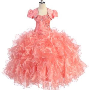 Fancy Pageant Dress with Ruffled Skirt Coral