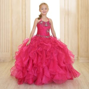 Fancy Pageant Dress with Ruffled Skirt Fuschia
