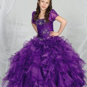 Fancy Pageant Dress with Ruffled Skirt Purple