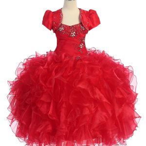 Fancy Pageant Dress with Ruffled Skirt Red