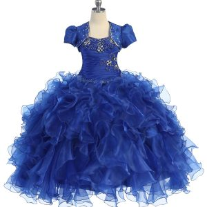 Fancy Pageant Dress with Ruffled Skirt Royal Blue