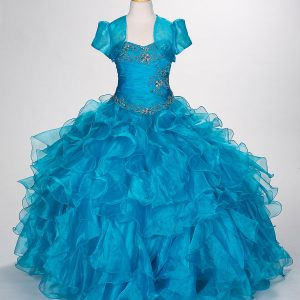 Fancy Pageant Dress with Ruffled Skirt Turquoise