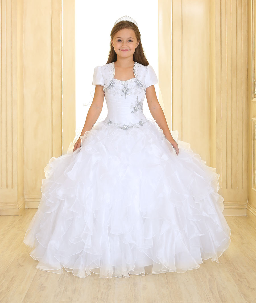 Fancy Pageant Dress with Ruffled Skirt White