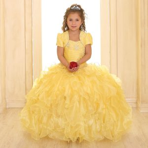 Fancy Pageant Dress with Ruffled Skirt Yellow