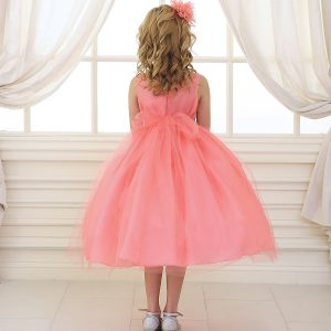 Flower Girl Dress Coral with Shiny Accent Trim