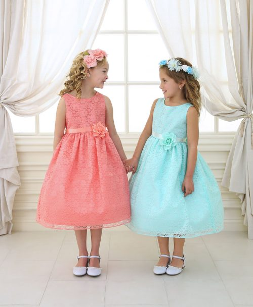 Flower Girl Dress Floral Lace Overlay