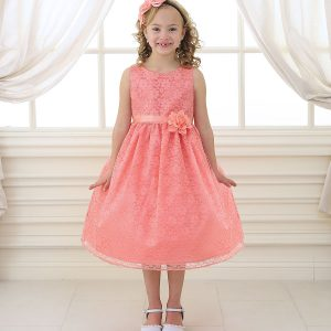Flower Girl Dress Floral Lace Overlay Coral