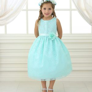 Flower Girl Dress Floral Lace Overlay Mint