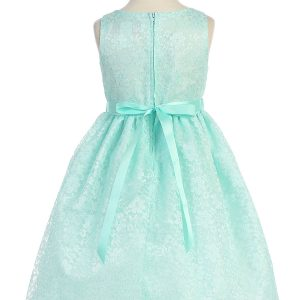 Flower Girl Dress Floral Lace Overlay Mint Green