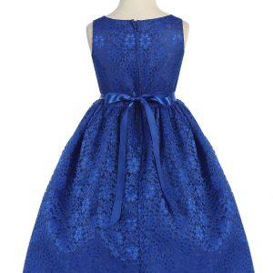 Flower Girl Dress Floral Lace Overlay Royal Blue