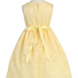 Flower Girl Dress Floral Lace Overlay Yellow