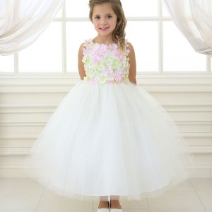 Flower Girl Dress Ivory with Flower Patch Bodice