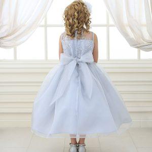Flower Girl Dress Lace Bodice Silver