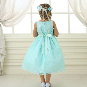 Flower Girl Dress Mint Floral Lace Overlay