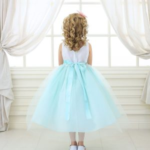 Flower Girl Dress Mint with Multi Color Flower Accents