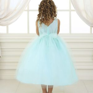 Flower Girl Dress Mint with Shiny Accent Trim
