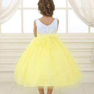 Flower Girl Dress Yellow with Multi Color Flower Accents
