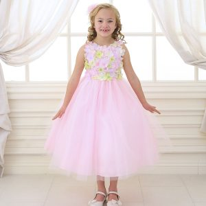Flower Girl Dress with Flower Patch Bodice Pink