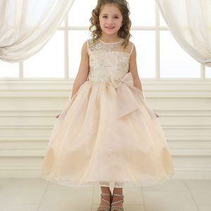 Flower Girl Dress with Lace Bodice Champagne