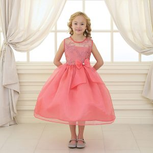 Flower Girl Dress with Lace Bodice Coral