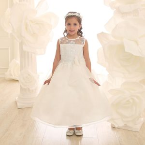 Flower Girl Dress with Lace Bodice Ivory