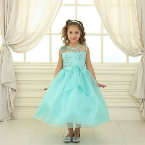 Flower Girl Dress with Lace Bodice Mint