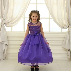 Flower Girl Dress with Lace Bodice Purple