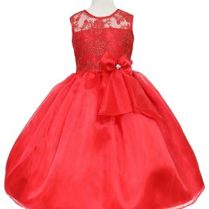 Flower Girl Dress with Lace Bodice Red