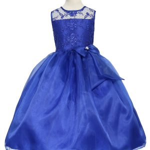 Flower Girl Dress with Lace Bodice Royal Blue