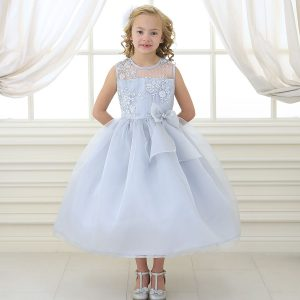 Flower Girl Dress with Lace Bodice Silver