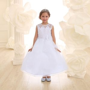 Flower Girl Dress with Lace Bodice White