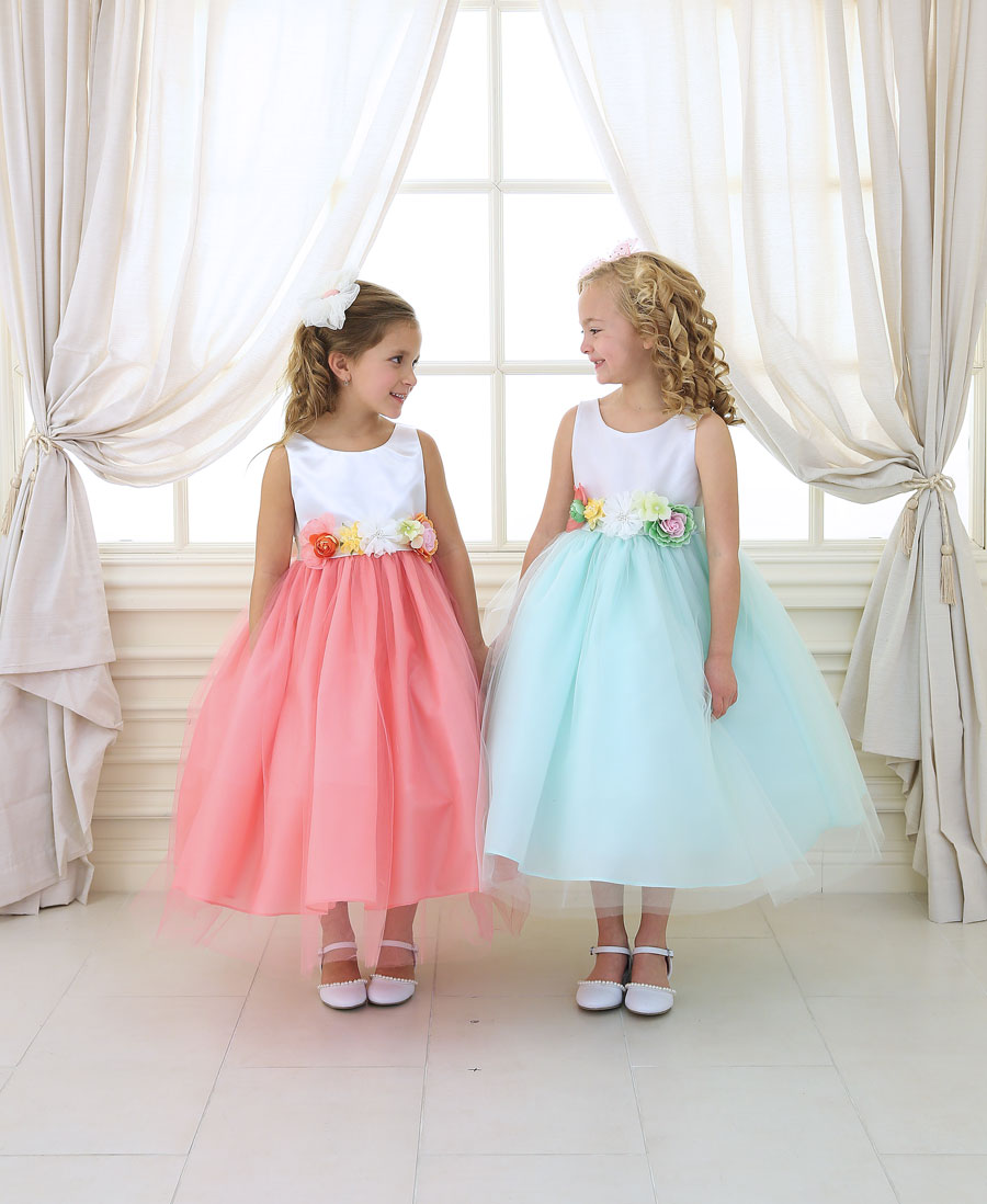 Flower Girl Dress with Multi Color Floral Accents