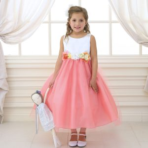 Flower Girl Dress with Multi Color Flower Accents Coral