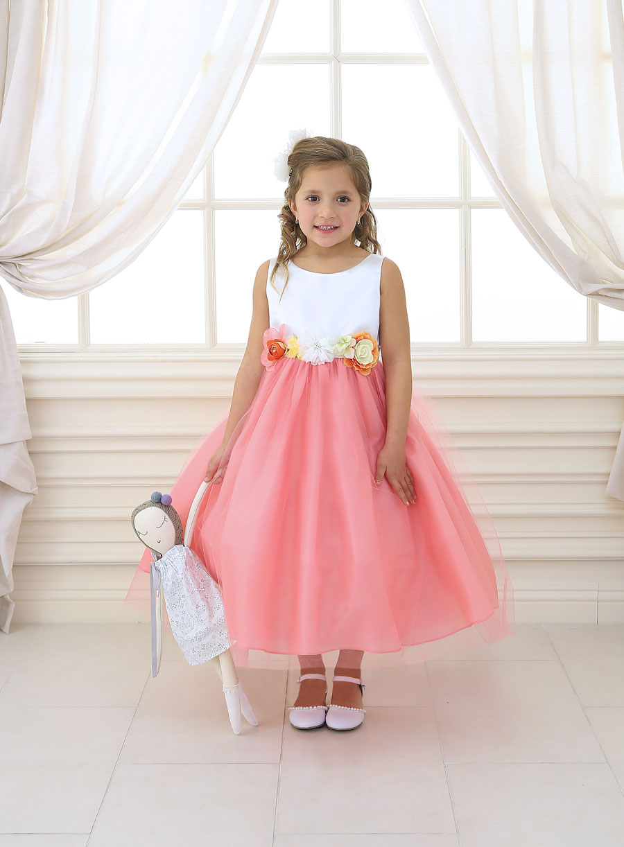 Flower Girl Dress With Multi Color Flower Accents Firstcommunions