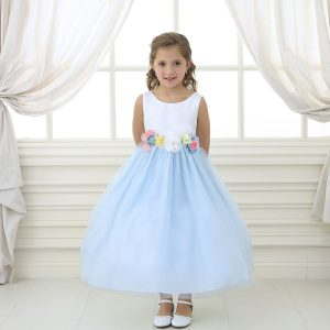 Flower Girl Dress with Multi Color Flower Accents Light Blue