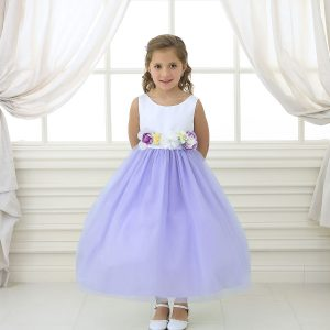 Flower Girl Dress with Multi Color Flower Accents Lilac