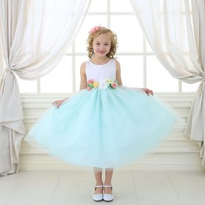 Flower Girl Dress with Multi Color Flower Accents Mint