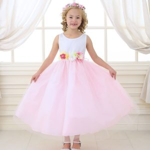 Flower Girl Dress with Multi Color Flower Accents Pink
