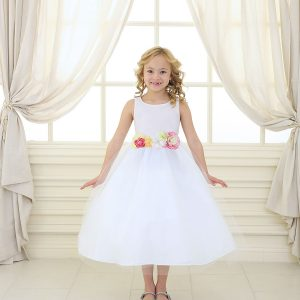 Flower Girl Dress with Multi Color Flower Accents White