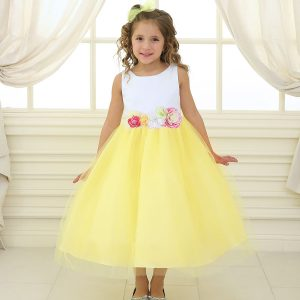 Flower Girl Dress with Multi Color Flower Accents Yellow