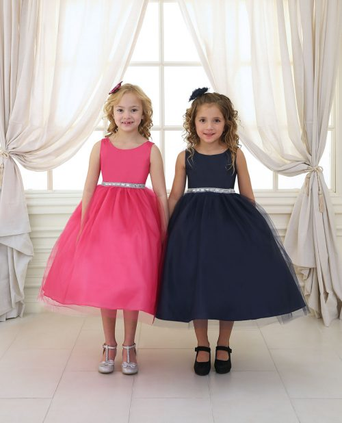 Flower Girl Dress with Shiny Accent Trim