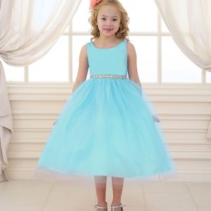 Flower Girl Dress with Shiny Accent Trim Aqia