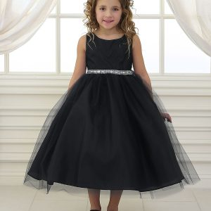 Flower Girl Dress with Shiny Accent Trim Black