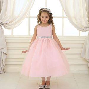 Flower Girl Dress with Shiny Accent Trim Blush
